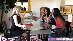 Two ebonies and a flaxen-haired milf threesome lesbian lovemaking