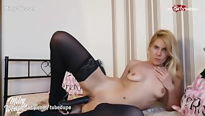 MyDirtyHobby - Big black dildo for blonde German MILF