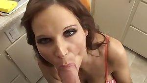 Prexy joyless MILF sucking her neighbors big cock