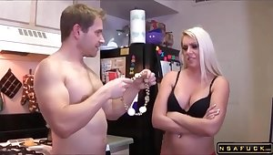 Big-Breasted Gold Wife Gets Drilled And Facialized In The Kitchen