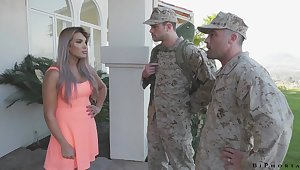 Army officer makes soldier to give a blowjob to fucking hot tie the knot Mercedes Carrera