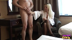 Skinny dude takes off his pants to be stroked overwrought Jessica Rae