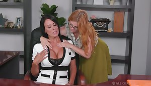 Lesbian aide seduces seduces bossy cougar Penny Pax and licks her pussy more than the table