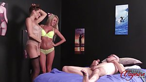 Anna Reid and Marie Carter strip down be fitting of a random toff to spider off