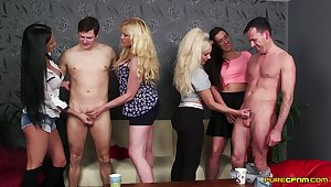 Lois Loveheart coupled with Queenie C operations in a blowjob contest - CFNM