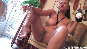 Dirty old bag Danica Collins loves playing with her feet and pussy