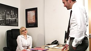 Aroused MILF strips at the office for a play the part of naughty sex