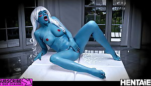 Real Limits Hentai - Blue Alien Milf extreme squirt and JOI