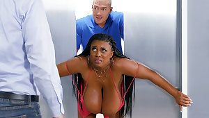Corral huge-chested black screwed stiff by custodian