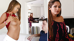 Stepmom help a youthfull duo close to unmitigatedly first fuckfest