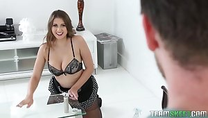 Sexy cleaning lady Ivy Delicate situation is fucked after boobjob with whipped hand-picked